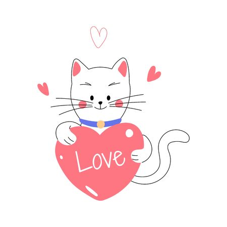 Little cute lovely white cat holding heart sign with love typography, celebrating Valentine's Day. Vector illustration Иллюстрация