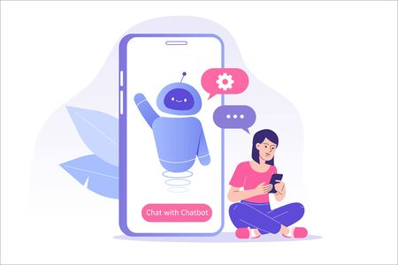 Chatbot ai and customer service concept. Young woman talking with chatbot in a big smartphone screen. Chat bot virtual assistant via messaging. Customer support. Helping. Vector isolated illustration