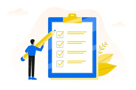 Checklist. Completing of tasks on time. Young business man or male office worker holding giant pencil and standing with marked checklist board. Vector illustration