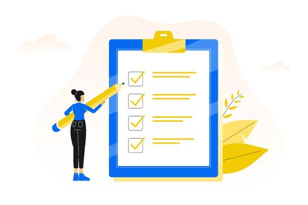 Checklist. Completing of tasks on time. Young business woman or female office worker holding giant pencil and standing with marked checklist board. Vector illustration Ilustração