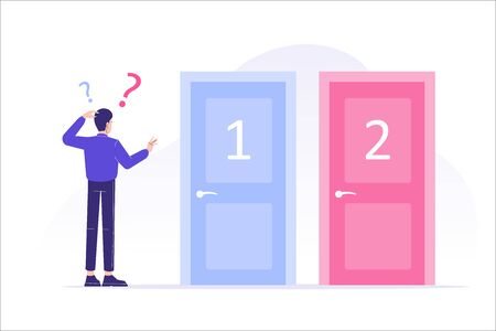 Confused man standing near two doors. Difficult choice between two options. Decide dilemma. Solve problem. Alternatives or opportunities. Making decision concept. Choose pathway. Vector illustration Çizim