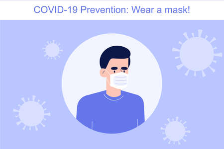 Coronavirus Covid-19 novel prevention concept. Man wearing mask to protect himself and other people from risk. Safety rule to preventing infection in crowd. Infographics vector illustration Illustration