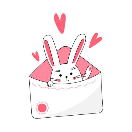 Cute lovely sweet rabbit popping out from envelope and greeting, celebrating Valentine's Day. Isolated vector illustration Illustration
