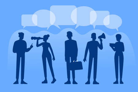 Communication concept. Group of business person silhouettes working. Dialog speech bubbles. Social Network. Virtual communication. Business vector illustration
