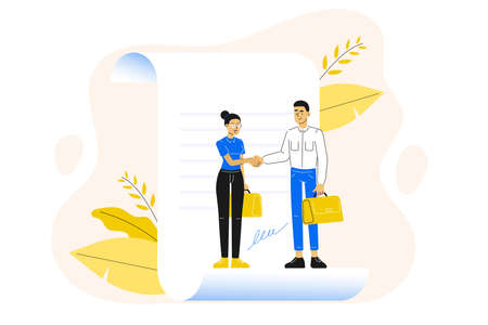 Business concept. Agreement. Young man and woman, business people standing on a signed contract. Hand shaking and making deal. Vector illustration. Ilustração