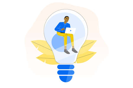 Creativity. Business idea concept. Young business man sitting inside lightbulb. Creative idea. Isolated flat vector illustration