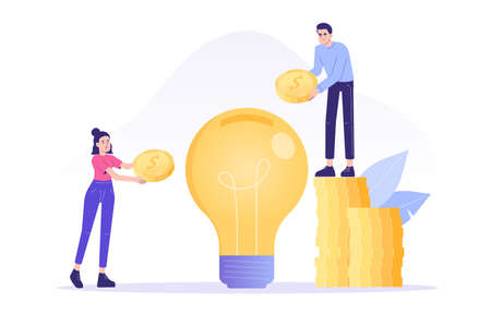 Crowdfunding concept. Successful business people investing money in big idea or business startup. Entrepreneur business strategy. Online service to donate, support or raise money. Vector illustration
