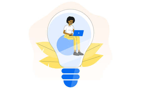 Creativity. Business idea concept. Young business woman sitting inside lightbulb. Creative idea. Isolated flat vector illustration