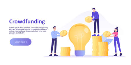 Crowdfunding concept. People investing money in big idea or business startup. Entrepreneur business strategy. Online service for raising money. Landing page template. Web banner. Vector illustration Ilustração