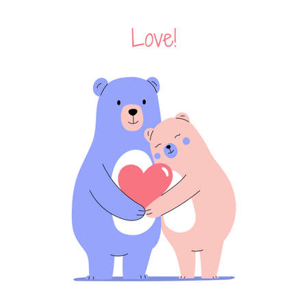 Cute bear couple hugging each other, holding heart sign, celebrating Valentine's Day. Vector illustration