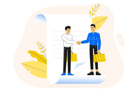 Business concept. Agreement. Young business people standing on a signed contract. Hand shaking and making deal. Vector illustration.