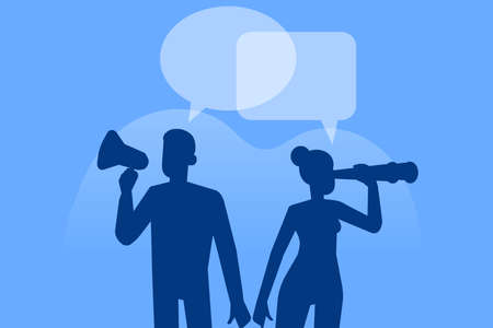 Communication concept. Business people silhouettes working. Dialog speech bubbles. Social Network. Virtual communication. Business vector illustration