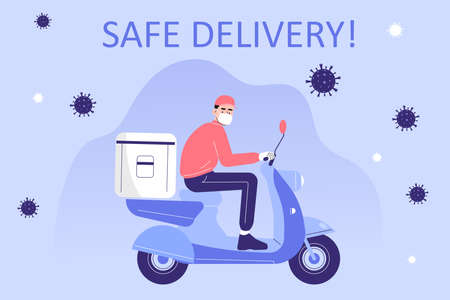 Safe delivery and courier service during a Coronavirus (COVID-19) novel. Delivery man in a medical mask holding riding scooter or moped. Logistics and safe delivery concept. Vector illustration