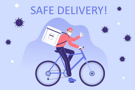 Safe delivery and courier service during a Coronavirus (COVID-19) novel. Delivery man in a medical mask holding riding bicycle or bike. Logistics and safe delivery concept. Vector illustration