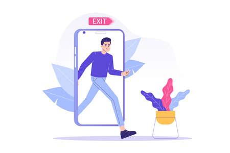 Digital Detox Concept. Happy man exiting the smartphone screen. Unplugging the phone and being offline. Staying away from stress and anxiety. Healthy lifestyle. Isolated modern vector illustration