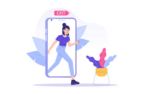 Digital Detox Concept. Happy woman exiting the smartphone screen. Unplugging the phone and being offline. Staying away from stress and anxiety. Healthy lifestyle. Isolated modern vector illustration