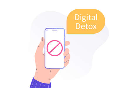 Digital Detox Concept. Unplugging the phone and being offline. Staying away from stress and anxiety. Abandoning gadgets, devices, internet. Isolated modern vector illustration for web, banner, poster Ilustração