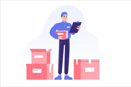 Online delivery and courier service concept. Delivery man standing in front of boxes or packages, carrying box in other hand. Online order tracking. Delivery home and office. Vector illustration