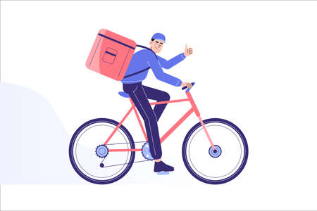 Online delivery and courier service concept. Delivery man riding bicycle to deliver packages or food to destination in time. Online order tracking. Delivery home and office. Vector illustration