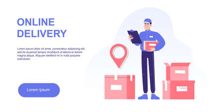Online delivery and courier service concept. Delivery man standing in front of boxes or packages, holding box in other hand. Logistics. Delivery home and office. Landing page. Vector web illustration