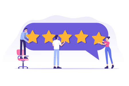 Customer review or feedback concept. People giving five star feedback and choosing satisfaction rating. Rating on customer service and user experience. Isolated vector illustration Illusztráció