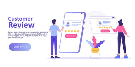 Customer review or feedback concept. People giving feedback and choosing satisfaction rating on smartphone app. Customer service and user experience. Landing page template. Vector web illustration Illusztráció