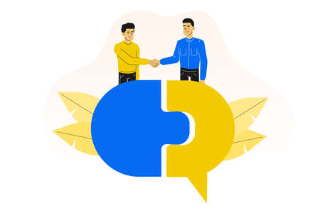 Agreement. Young people or managers hand shaking. Making a deal. Standing on speech bubble. Unity. Vector illustration Illustration