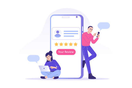 Customer review or feedback concept. Young people giving five star feedback and choosing satisfaction rating on smartphone app. Rating on customer service and user experience. Vector illustration
