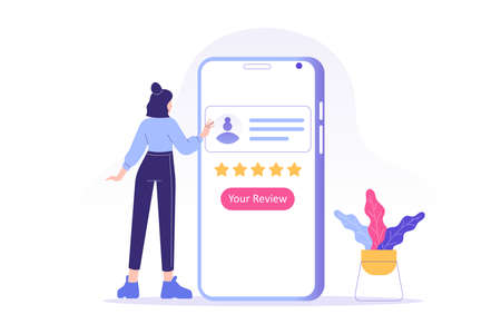 Customer review or feedback concept. Young woman giving five star feedback and choosing satisfaction rating on smartphone app. Rating on customer service and user experience. Vector illustration