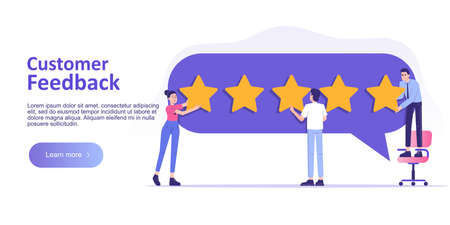Customer review or feedback concept. People giving five star feedback and choosing satisfaction rating. Rating on customer service and user experience. Landing page template. Vector web illustration