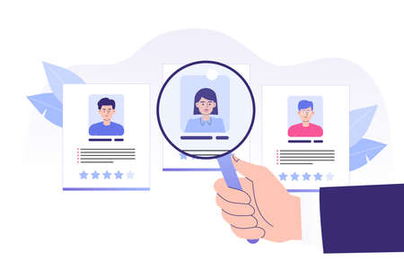 We are hiring concept. Hand pointing big magnifier to perfect candidate. Job hiring. Online recruitment and headhunting agency concept. Interview. Hiring employees. Web banner. Vector illustration Vettoriali