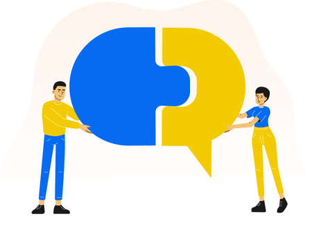 People combining puzzle pieces. Completing speech bubble symbol. Cooperation. Communication. Partnership. Team work. Vector illustration