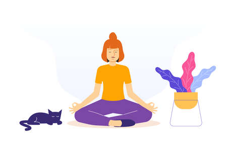 Meditation and Mental Health Concept. Young woman sitting in Lotus Position on floor. Spiritual practice. Yoga Retreat and Mindfulness. Meditating and Breath Control. Isolated vector illustration
