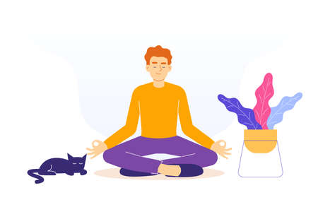 Meditation and Mental Health Concept. Young man sitting in Lotus Position on floor. Spiritual practice. Yoga Retreat and Mindfulness. Meditating and Breath Control. Isolated flat vector illustration