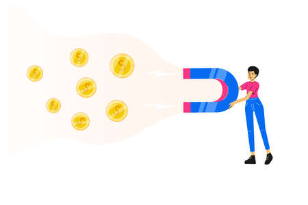 Investing concept. Young business woman or manager holding a big blue magnet. Attracting and collecting money. Investment attraction metaphor. Earning. Saving. Vector illustration Vektoros illusztráció