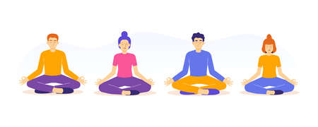 Meditation and Mental Health Concept. Young people sitting in Lotus Position on floor, character collection or set. Spiritual practice. Yoga Retreat and Mindfulness. Isolated vector illustration
