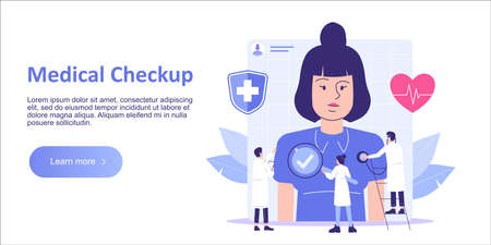 Medical Checkup Concept. Doctors and Medical Staff examining female patient. Healthcare. Medical diagnosis. Medicine. Landing template. Web banner. Homepage design. Isolated flat vector illustration