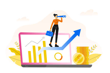 Business concept. Manager woman standing on arrow and looking out from a laptop screen with binoculars. Career growth to success. Business analysis. Making profit. Searching web. Vector illustration Ilustrace