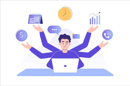 Multitasking and time management concept. Young freelancer man or business manager working at office. Office worker doing professional multitasking. Multitasking skill. Isolated vector illustration Vectores