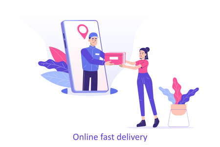 Online fast delivery service concept. Young delivery man or courier popping from huge smartphone screen and delivering a package or box to happy woman. Delivery home or office. Vector illustration Ilustracja