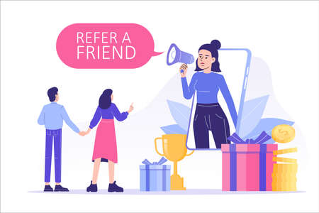 Referral marketing concept. Happy woman with a megaphone invites his friends to referral program, attracts them for money and gifts. Refer A Friend loyalty program. Modern isolated vector illustration