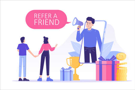 Referral marketing concept. Happy man with a megaphone invites his friends to referral program, attracts them for money and gifts. Refer A Friend loyalty program. Modern isolated vector illustration