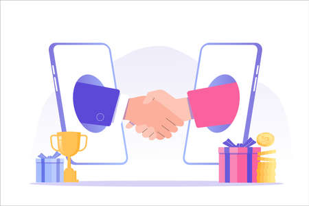 Referral marketing concept. Business people shaking hands in big smartphone. Refer A Friend loyalty program. Social communication, social media marketing. Promotion method. Vector illustration Vettoriali