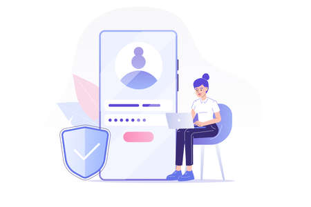 Online registration and sign up concept. Young woman signing up or login to online account on huge smartphone. User interface. Secure login and password. Vector illustration for UI, mobile app, web