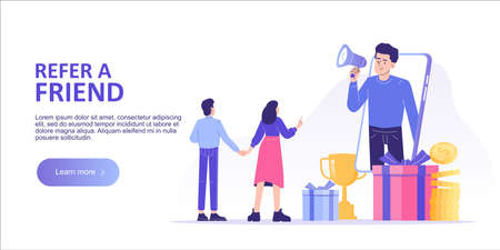 Referral marketing concept. Happy man with a megaphone invites his friends to referral program. Refer A Friend loyalty program. Landing page template. Web banner. Modern isolated vector illustration