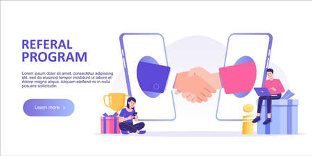 Referral marketing concept. Business people shaking hands in big smartphone. Refer A Friend loyalty program. Promotion method. Landing page template. Web banner. Modern isolated vector illustration