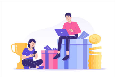 Referral marketing concept. Happy people sitting on gifts and money with laptop and smartphone inviting friends to referral program. Refer A Friend loyalty program. Modern isolated vector illustration