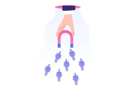 Target marketing concept. Hand attracting female pictograms with magnet. Successful consumer and targeting. Public relations. Focus group. Online advertising. Vector stock illustration