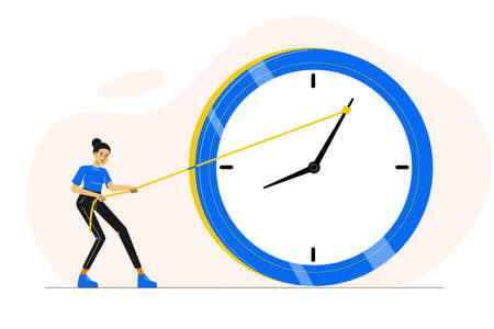 Deadline or time management concept. Sad or stressed woman or employee or office worker pushing minute hand of broken clock towards anti clockwise. Running out of time. Vector character illustration