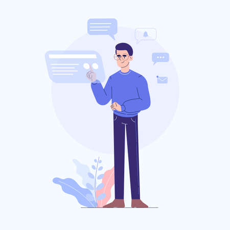 Guy standing touching and interacting with touch screen, chatting and sending messages, social media elements, notification icons and bubbles around the guy with some plants. Flat vector illustration